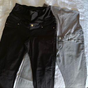 Lot of 2 H&M MAMA Skinny Jeans - Black/Grey